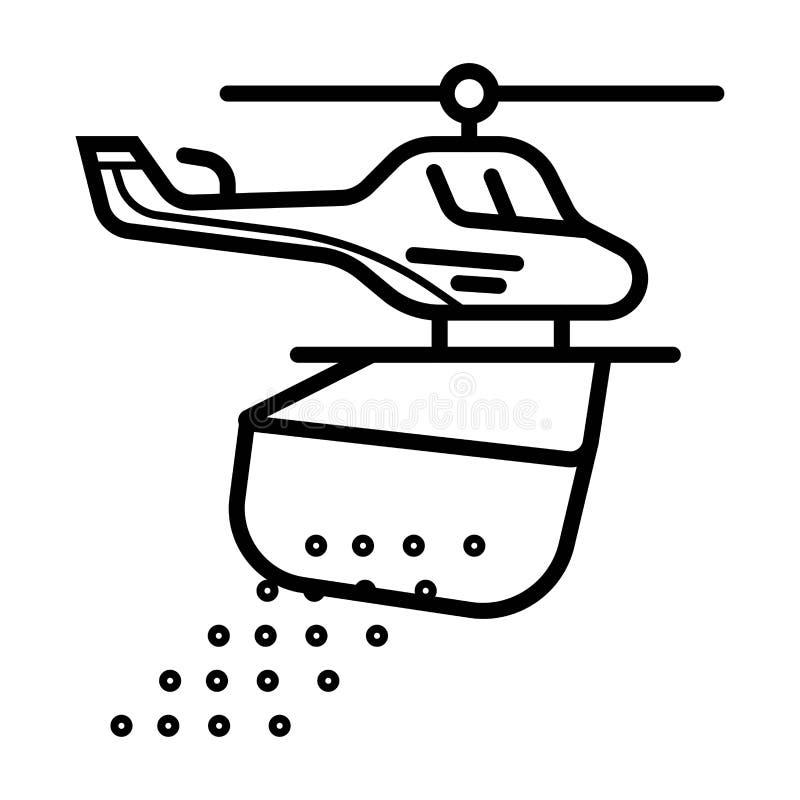 Hélicoptère, forêt, le feu dans la ligne icône de forêt illustration stock