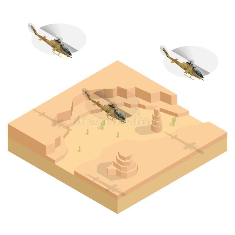 Hélicoptère militaire isométrique au-dessus du désert Illustration plate du vecteur 3d illustration de vecteur