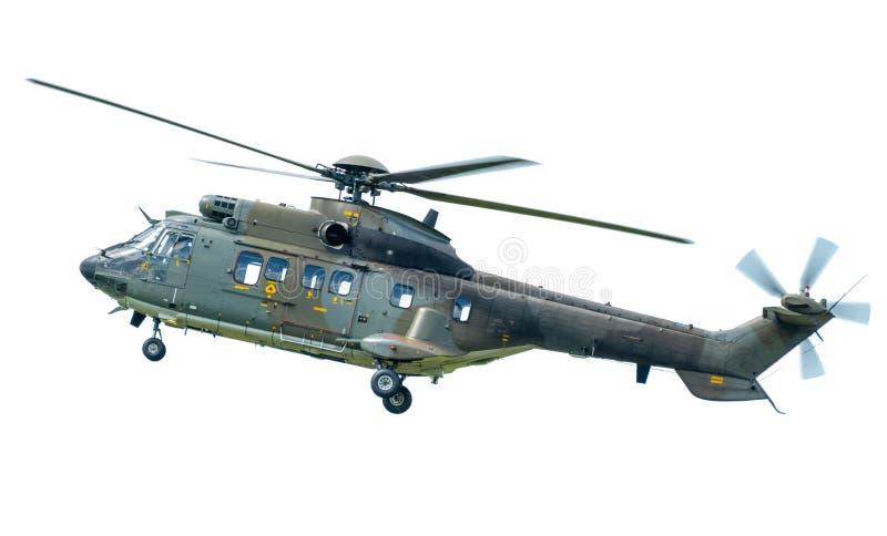 Hélicoptère superbe du puma AS332, d'isolement sur le blanc photo stock