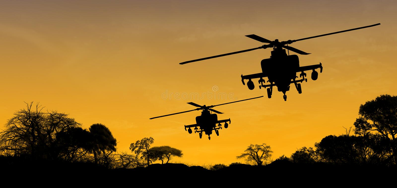 Hélicoptères d'Apache photos libres de droits