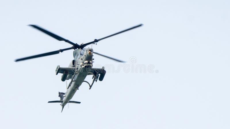 Hélicoptères de combat superbes de cobra d'AH-1W des USA mouche de Marine Corps dedans image libre de droits