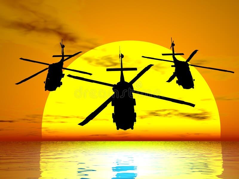 Hélicoptères de coucher du soleil illustration stock