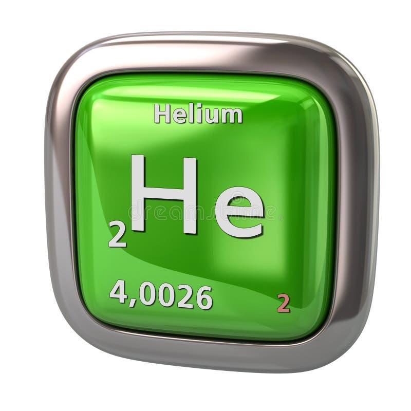 Hélio ele elemento químico do ícone do verde da tabela periódica ilustração do vetor