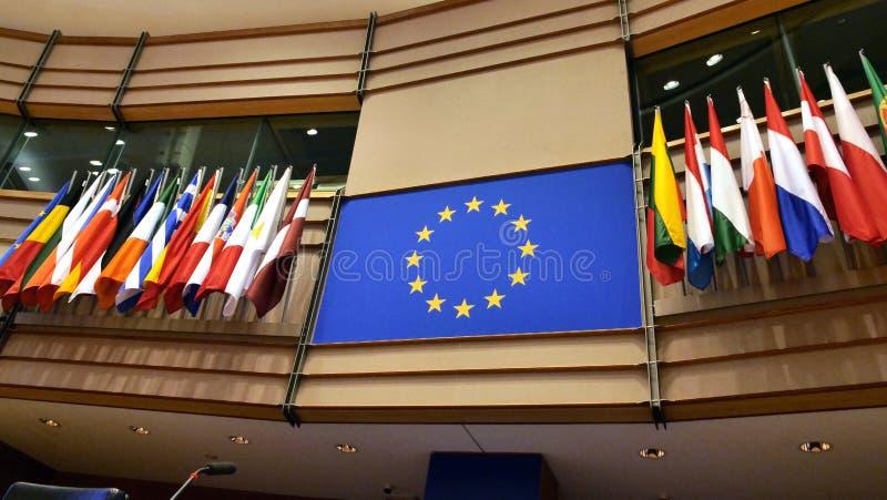 Hémicycle du Parlement européen à Bruxelles indicateurs images stock