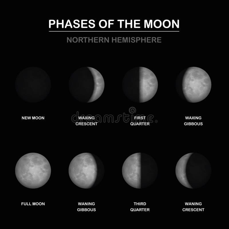 Hémisphère nord de lune de phases illustration stock