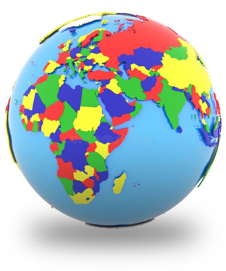 Hémisphère oriental sur le globe illustration libre de droits