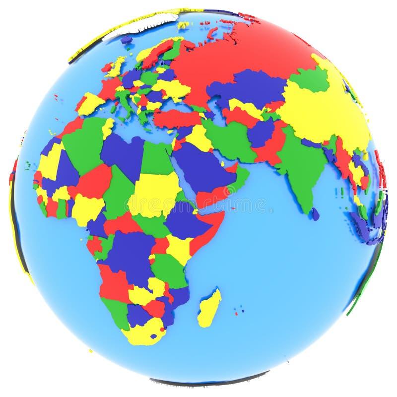 Hémisphère oriental sur terre illustration de vecteur
