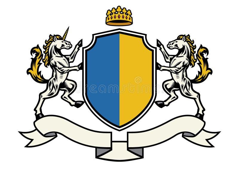Héraldique de cheval dans le manteau classique du style de bras illustration de vecteur