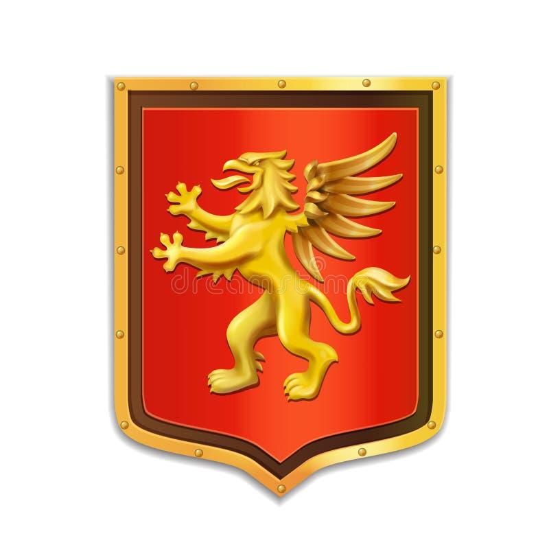 Héraldique de griffon Couche des bras Écran protecteur d'or illustration de vecteur