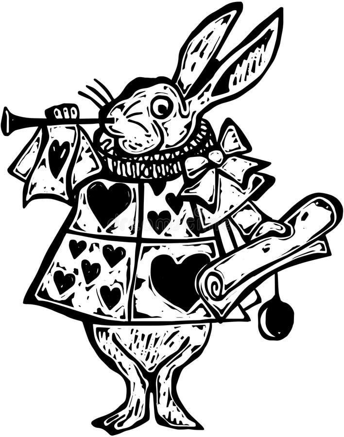 Héraut blanc de lapin de gravure sur bois illustration libre de droits