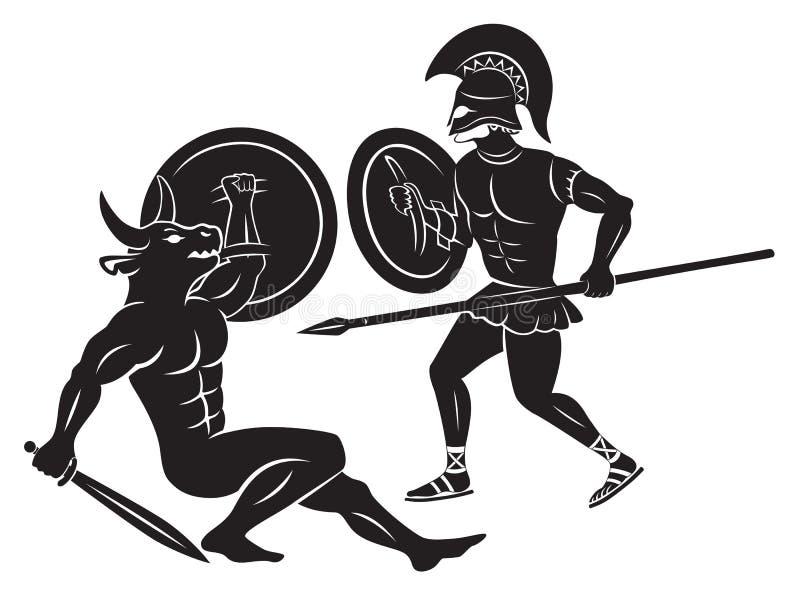 Hércules y Minotaur ilustración del vector
