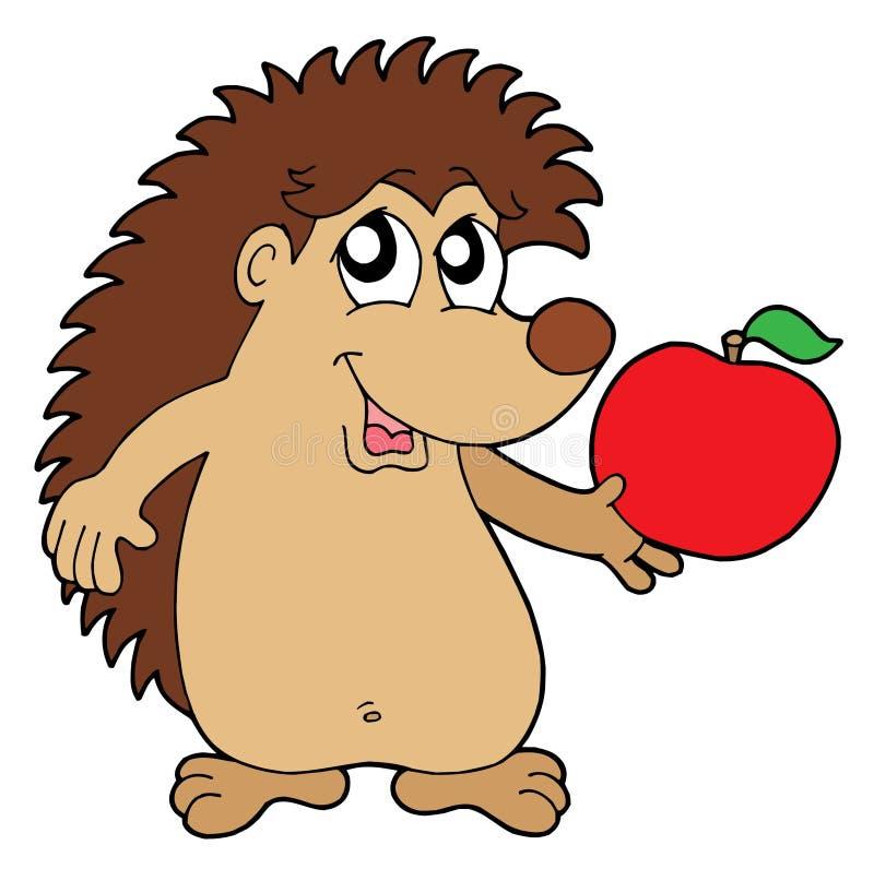 Hérisson avec l'illustration de vecteur de pomme illustration stock