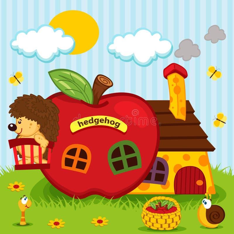 Hérisson dans la maison des pommes illustration stock