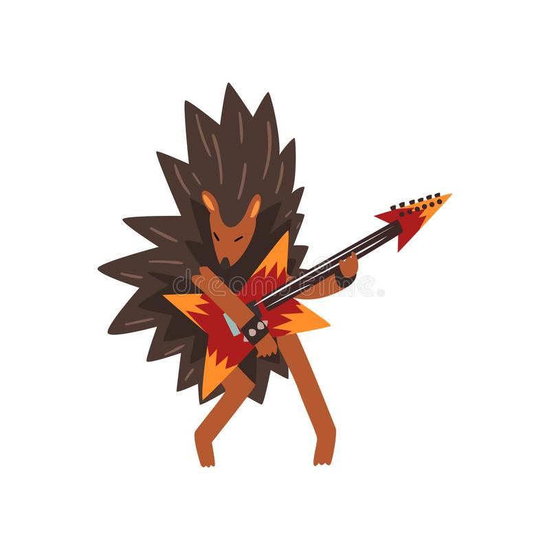 Hérisson jouant la guitare électrique, caractère animal de bande dessinée avec l'illustration de vecteur d'instrument de musique  illustration de vecteur
