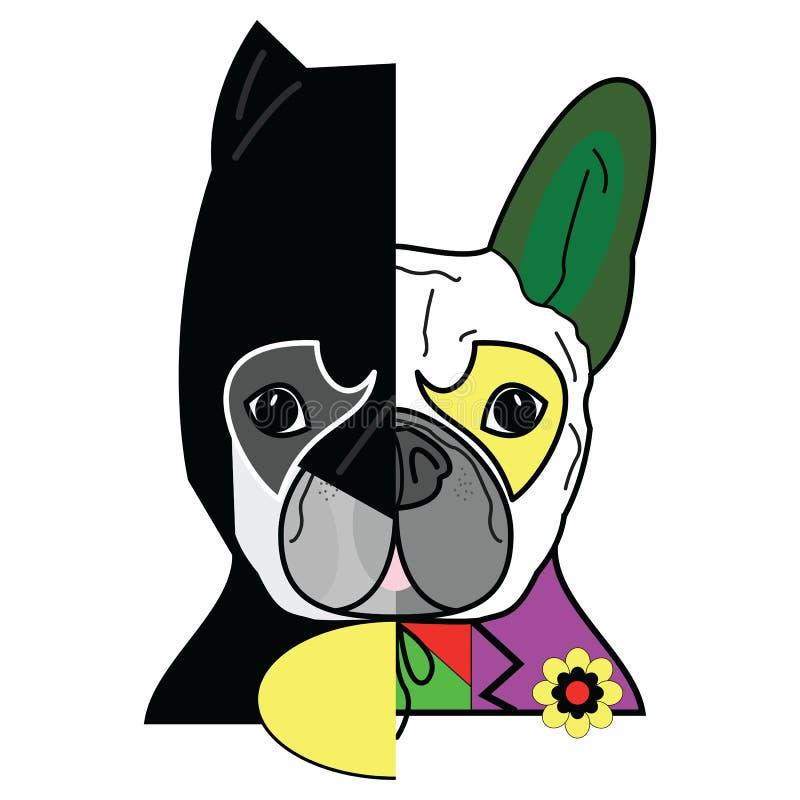 Héroe contra caracteres del malvado en gráfico del estilo de la historieta del estilo del dogo francés ilustración del vector
