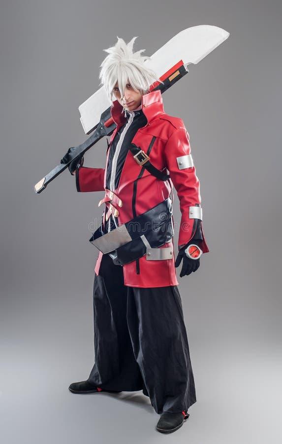 Héroe de Manga con la espada imagen de archivo libre de regalías