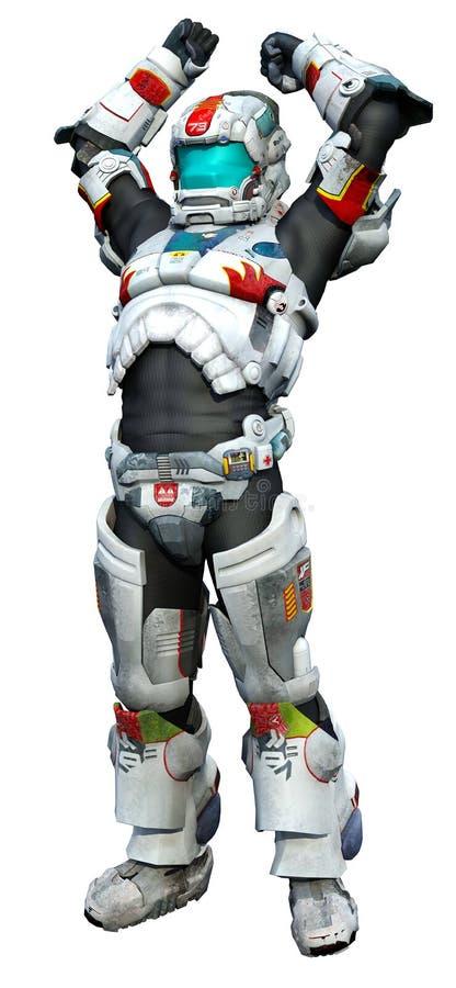 Héroe del astronauta - victoria stock de ilustración
