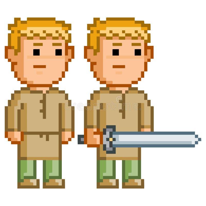Héroe del duende del pixel con una espada libre illustration