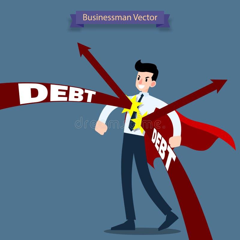 Héroe del hombre de negocios que lleva una situación roja del cabo y permanece resistente de deuda de la flecha que lo ataque ilustración del vector