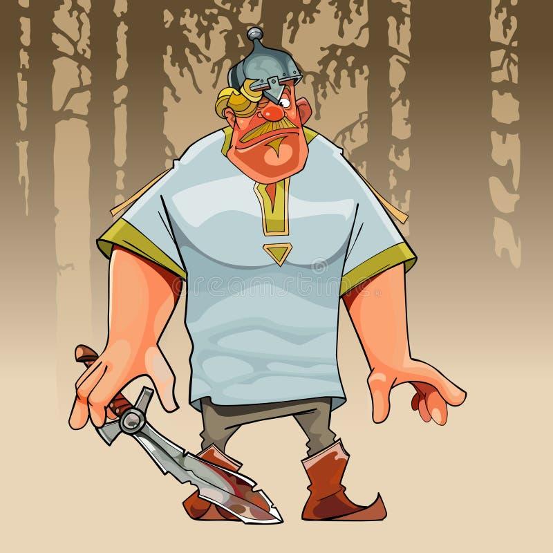 Héroe distraído divertido de la historieta incompetente con una espada libre illustration