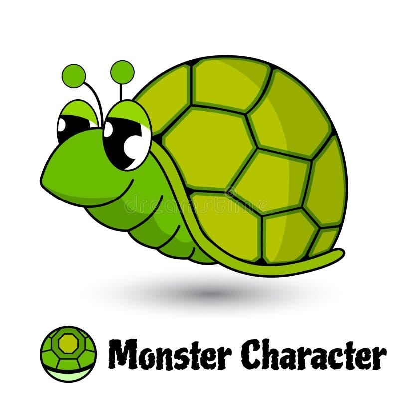 Héroe lindo o monstruo de la tortuga verde de los caracteres en estilo de la historieta aislado libre illustration