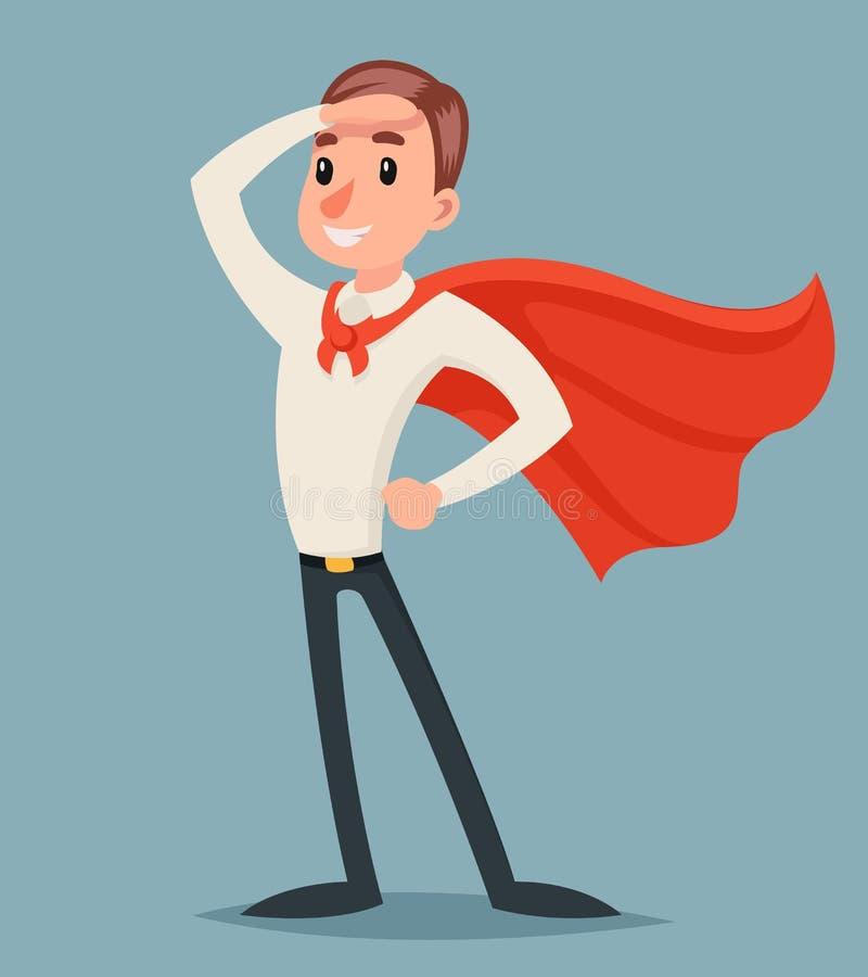 Héroe valiente listo para el ejemplo del vector del diseño de la historieta de Character Icon Retro del hombre de negocios de la  ilustración del vector