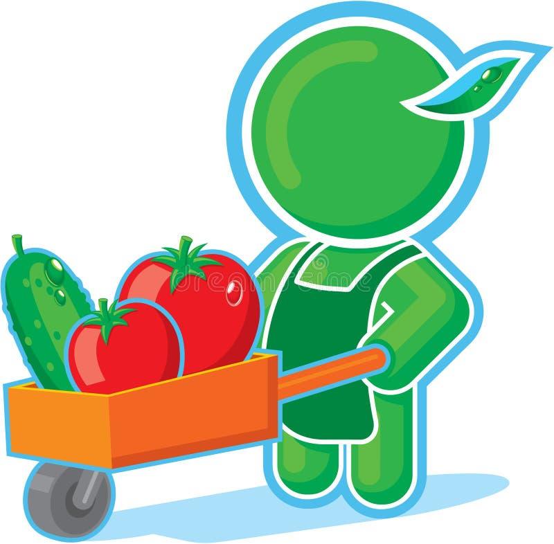 Héroe verde con el carro de la cosecha libre illustration