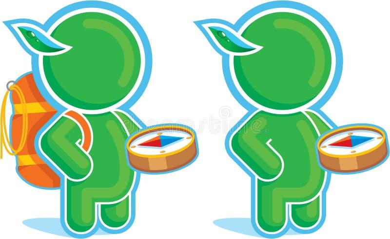 Héroe verde con el compás y el morral libre illustration