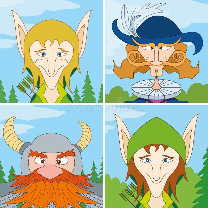 Héroes de la fantasía, avatar, conjunto stock de ilustración