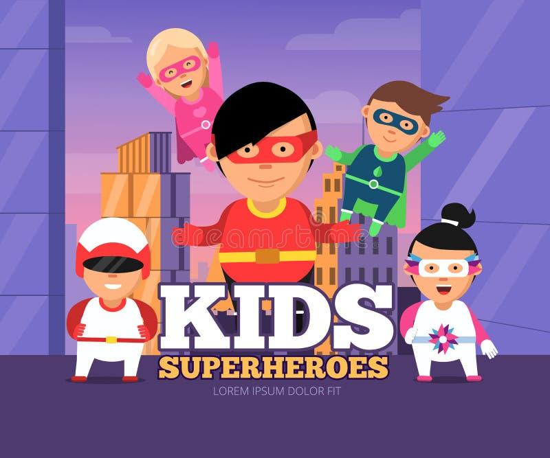 Héroes de los niños de la ciudad Paisaje urbano con el varón y los super héroes femeninos de los niños en personajes de dibujos a ilustración del vector
