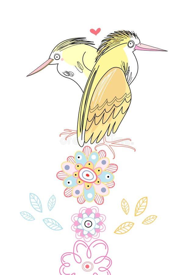 Héron jaune illustration libre de droits