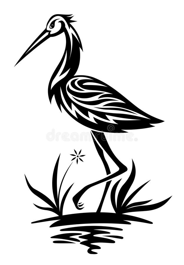 Héron sur l'étang et la canne illustration libre de droits