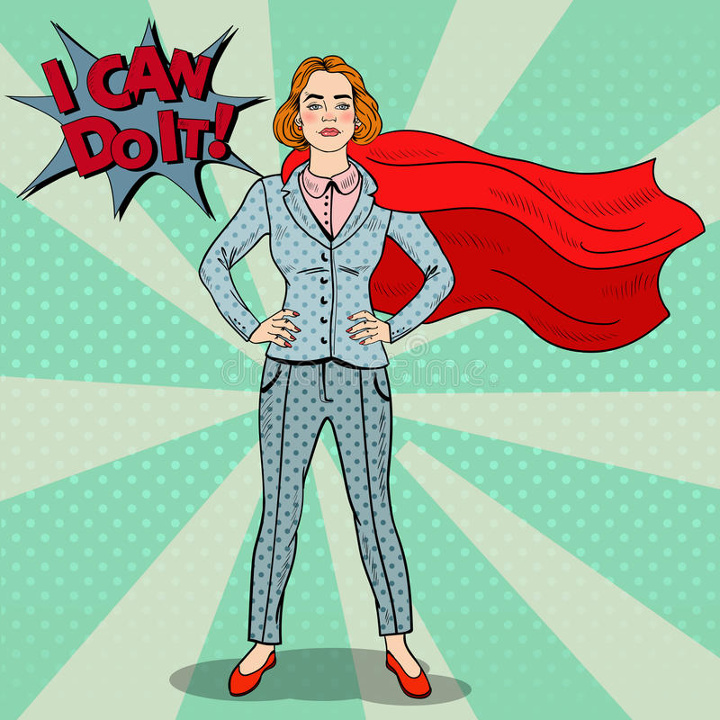 Héros d'Art Confident Business Woman Super de bruit illustration libre de droits