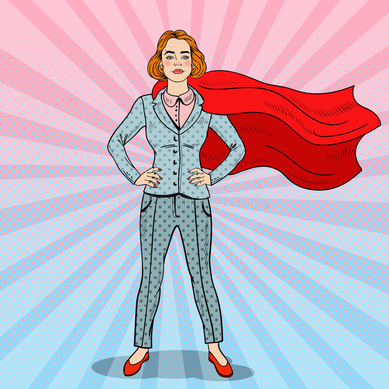 Héros d'Art Confident Business Woman Super de bruit illustration de vecteur