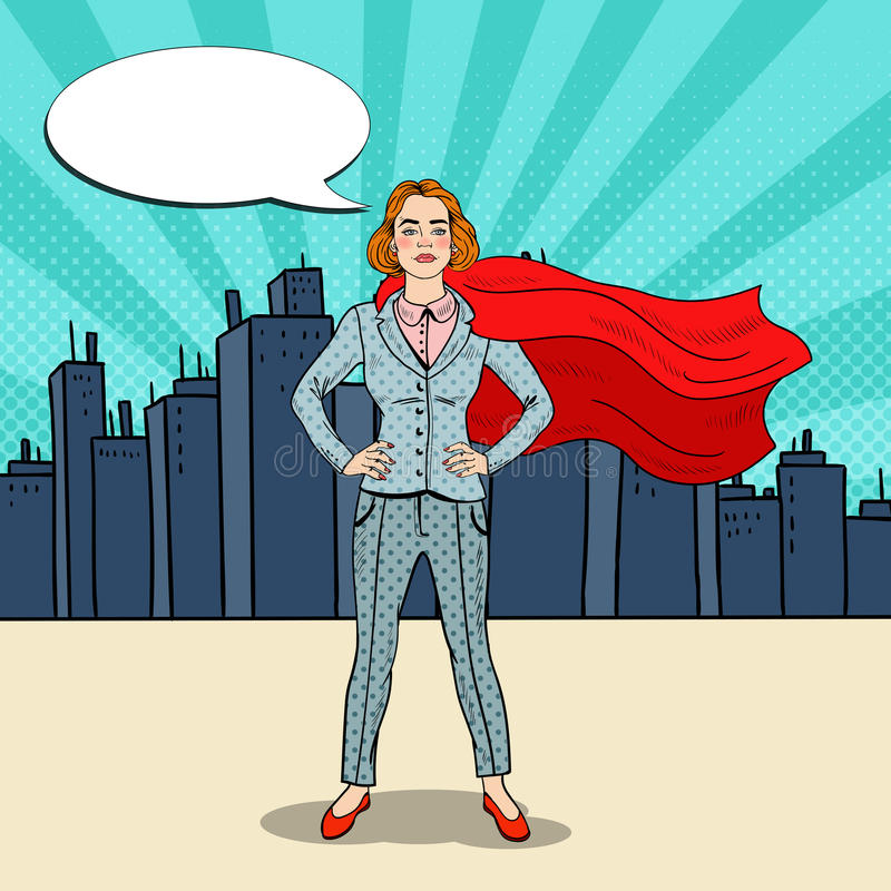 Héros d'Art Confident Business Woman Super de bruit dans le costume avec le cap rouge illustration stock