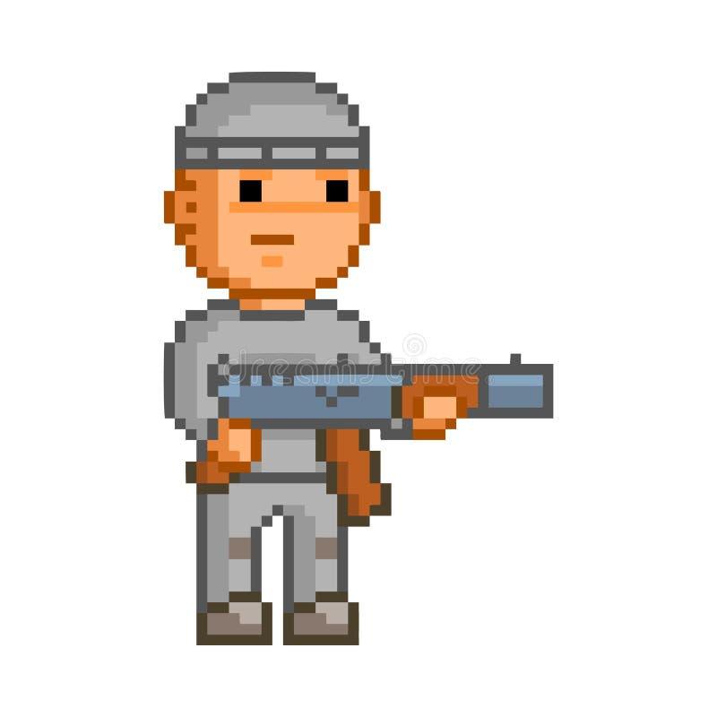 Héros de pixel de bit du vecteur 8 pour le jeu illustration stock