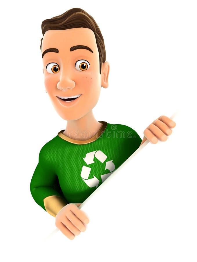 héros du vert 3d derrière le mur diagonal illustration de vecteur