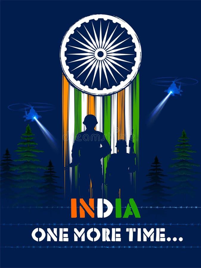 Héros indien de nation de soilder d'armée sur la fierté du fond d'Inde illustration stock