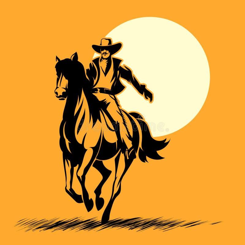 Héros occidental sauvage, cheval d'équitation de silhouette de cowboy illustration stock