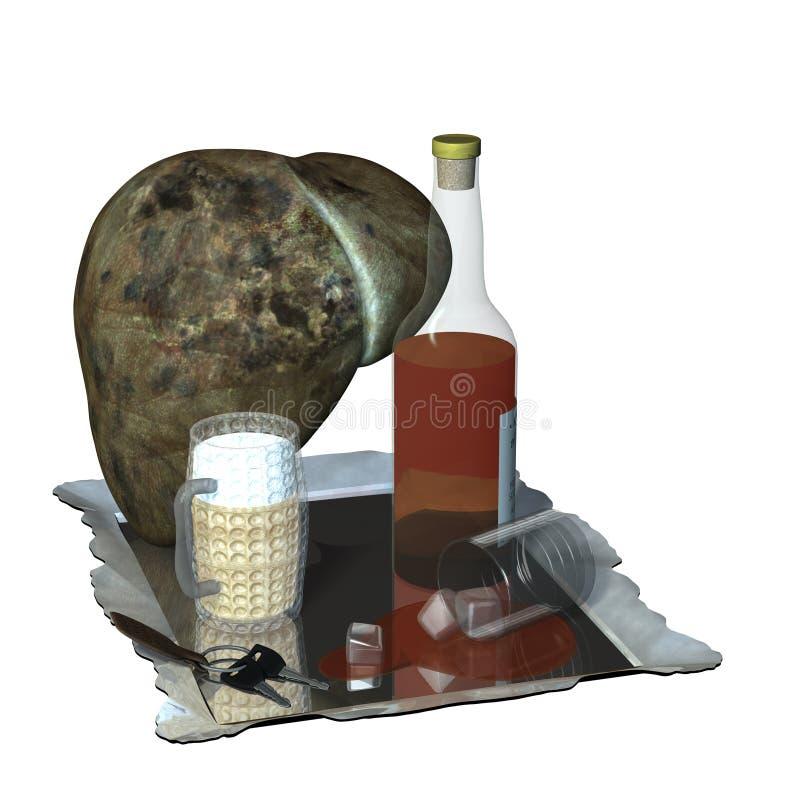 Hígado en las drogas stock de ilustración