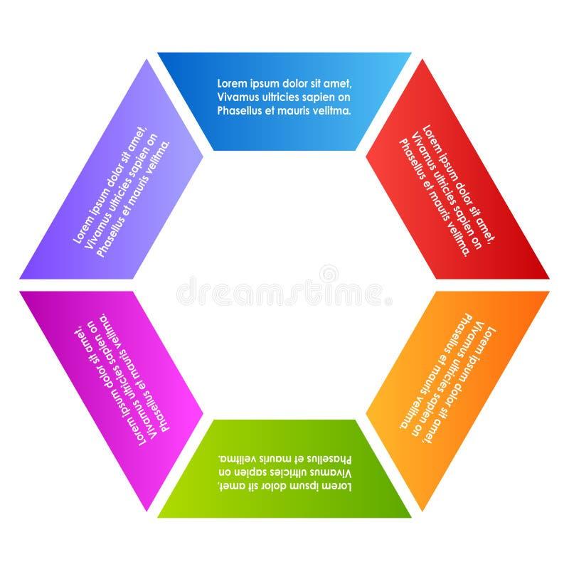 Hеxagon diagrama de seis porções ilustração royalty free