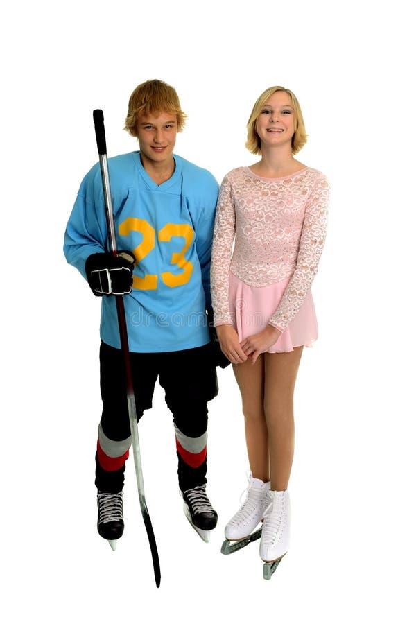 Hóquei e figura adolescentes felizes skater fotos de stock royalty free
