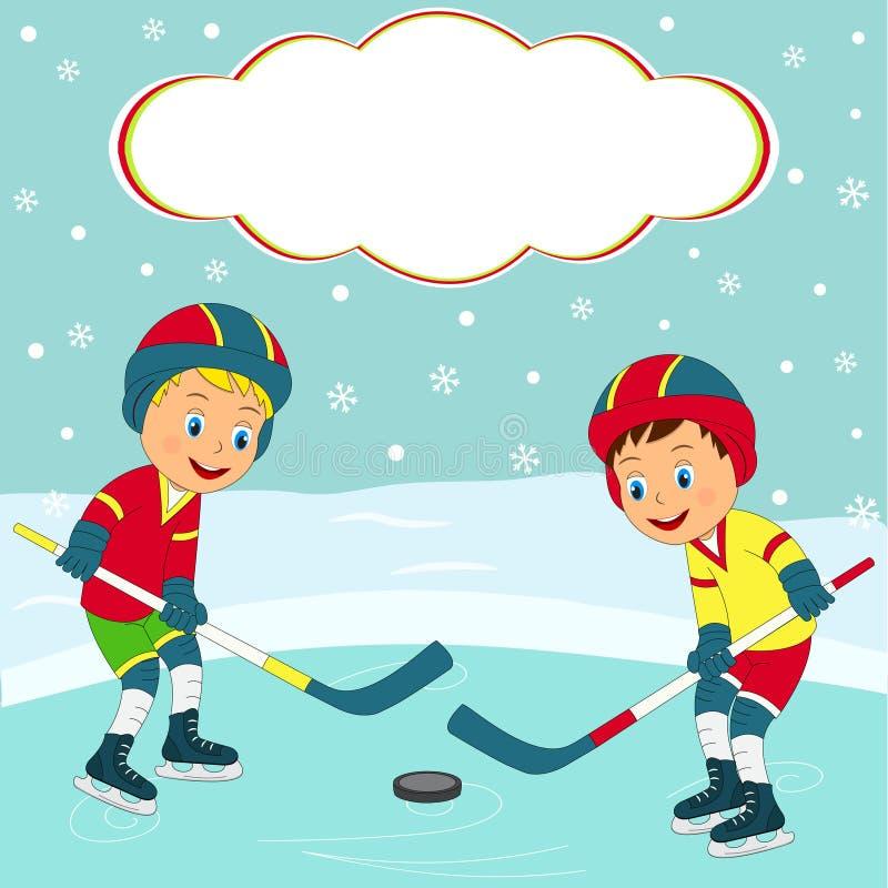Hóquei em gelo do jogo de dois meninos ilustração royalty free