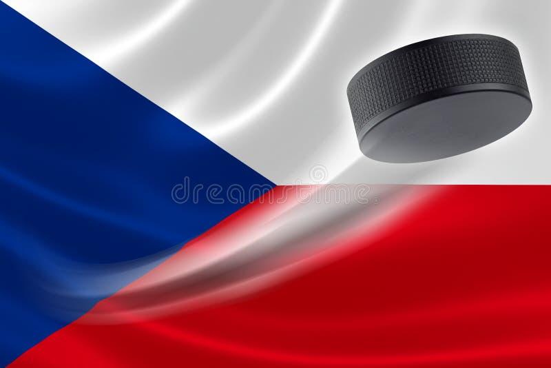 Hóquei Puck Streaks Across a bandeira de República Checa ilustração royalty free