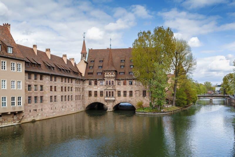 Hôpital du Saint-Esprit, Nuremberg, Allemagne images stock