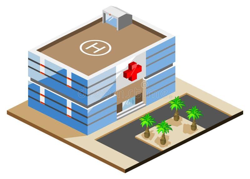 Hôpital isométrique illustration de vecteur