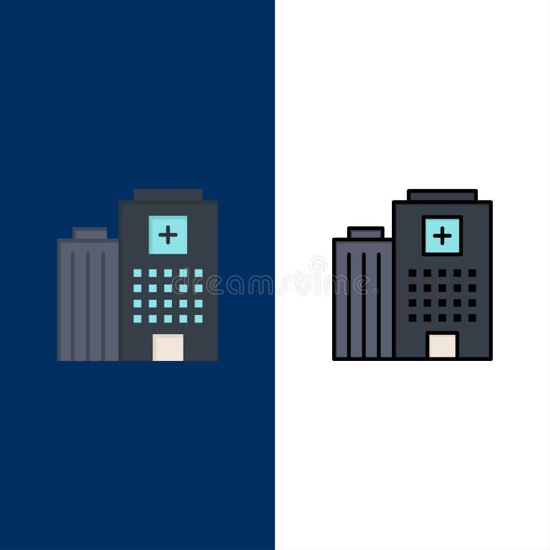Hôpital, médical, bâtiment, icônes de soin L'appartement et la ligne icône remplie ont placé le fond bleu de vecteur illustration de vecteur