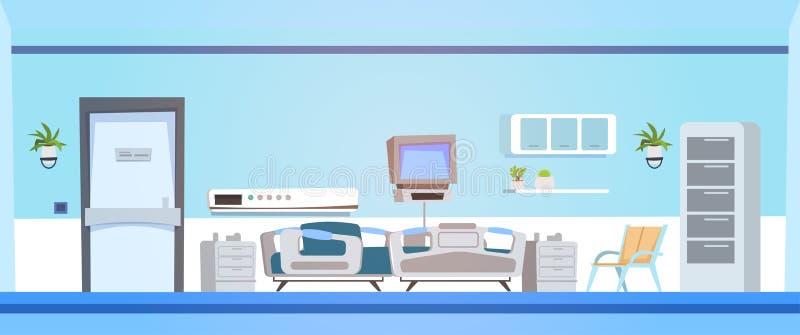 Hôpital vide Ward Background Clinic Room Interior avec le lit illustration stock