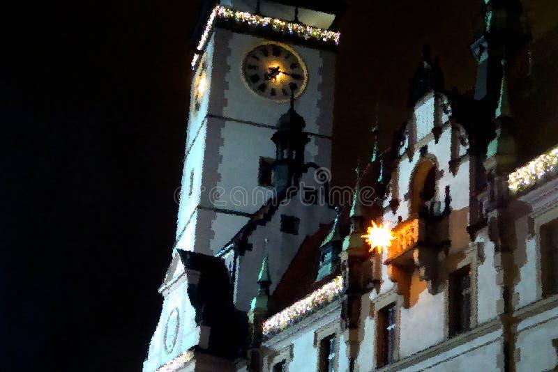 Hôtel de ville à Olomouc la nuit de Noël photos stock
