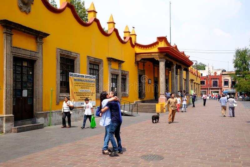 Hôtel de ville colonial chez Coyoacan à Mexico photo stock